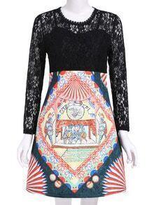 Black Long Sleeve Vintage Floral Lace Dress