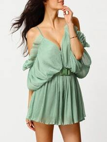 Green Off the Shoulder Flouncing Dress