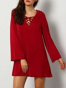 Wine Red Lacing Long Sleeve Designs Lace Up Dress