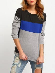 Black Grey Round Neck Color Block T-Shirt