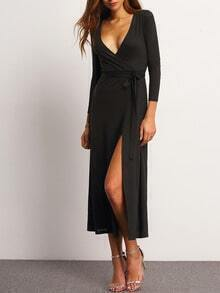 Black V Neck Split Maxi Dress