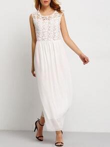 White Sleeveless Floral Crochet Lace Maxi Dress