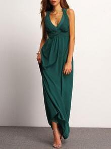 Dark Green Sleeveless Maxi Dress