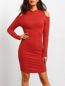 Orange Mock Neck Cold Shoulder Bodycon Dress