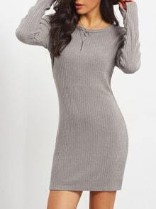 Grey Long Sleeve Round Neck Bodycon Dress
