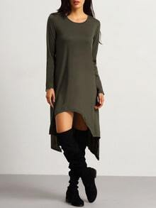 Army Green Long Sleeve High Low Dress