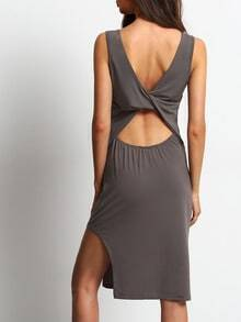 Coffee Back Twist Detail Split Dress