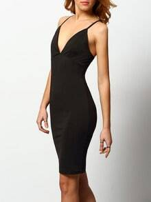 Black Cami Plunge Criss Cross Back Sheath Dress