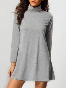 Grey High Neck Long Sleeve Slim Dress