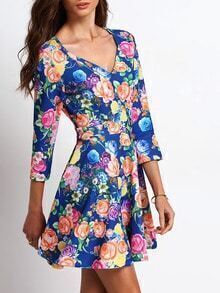 Multicolor V Neck Floral Flare Dress