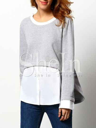 Grey Long Sleeve Color Block T-shirt
