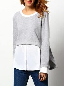 Grey Long Sleeve Color Block Blouse
