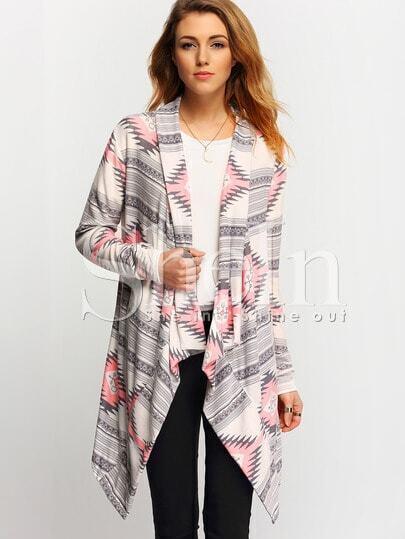 Grey Pink Long Sleeve Geometric Print Coat