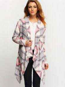 Grey Pink Long Sleeve Geometric Print Coat