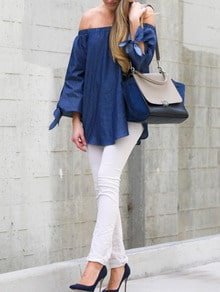 Blue Long Sleeve Off The Shoulder Blouse