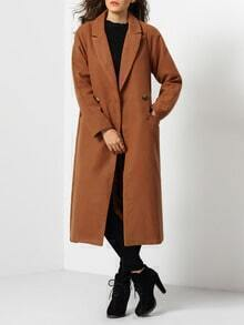 Camel Long Sleeve Lapel Coat