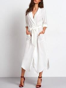 White Belted Side Slit Shirt Dress