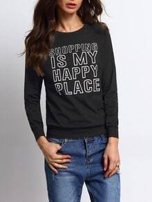 Black Crew Neck Letters Print Sweatshirt