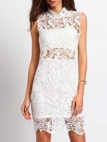 Beige Mock Neck Lace Embroidered Sexy Dress
