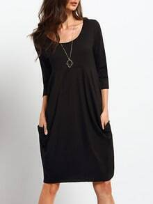 Black Scoop Neck Pockets Dress