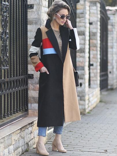 Multicolor Lapel Color Block Coat