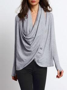 Grey Long Sleeve Drape Neck T-Shirt
