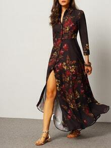 Black Long Sleeve Lapel Leaves Print Maxi Dress