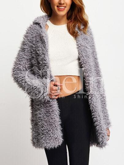 Grey Casual Lapel Faux Fur Coat