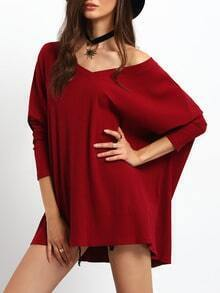 Burgundy V Neck Ribbed Loose T-Shirt