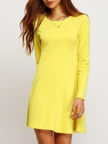 Yellow Long Sleeve Casual Dress