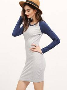 Grey Blue Long Sleeve Color Block Bodycon Dress