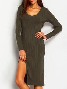 Army Green Long Sleeve Split Dress
