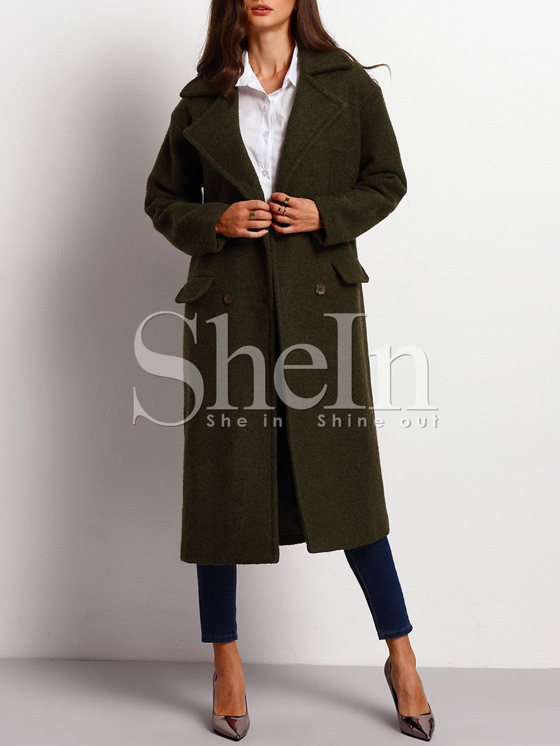 Army Green Long Sleeve Lapel Coat -SheIn(Sheinside)