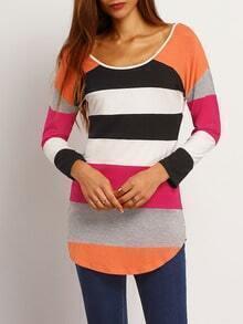 Multicolor Round Neck Color Block T-Shirt
