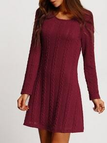Burgundy Long Sleeve A Line Sweater Dress
