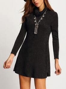 Black Cowl Neck Long Sleeve Loose Dress