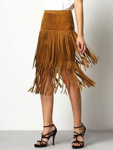 Brown High Waisted Tassel Skirt