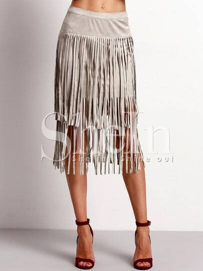 Grey High Waist Tassel Skirt