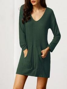 Army Green V Neck Pockets Dress