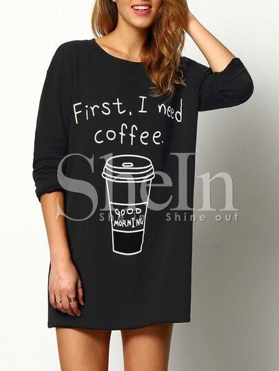 Coffee Print Long T-Shirt