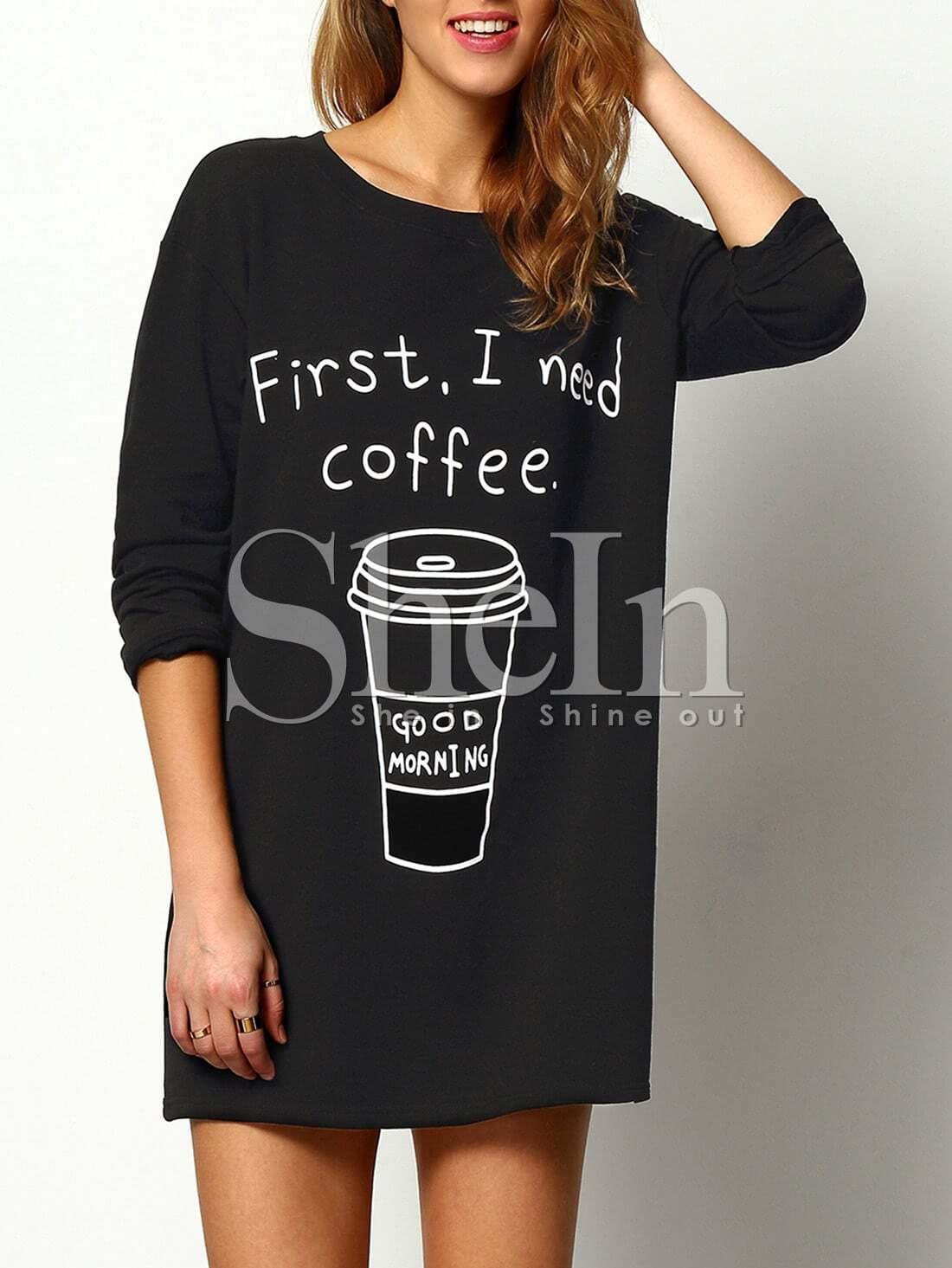 Купить Чёрный длинный джемпер с принтом Coffee, Evelina, SheIn