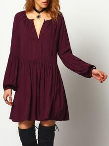 Burgundy Long Sleeve V Neck Pleated Dress
