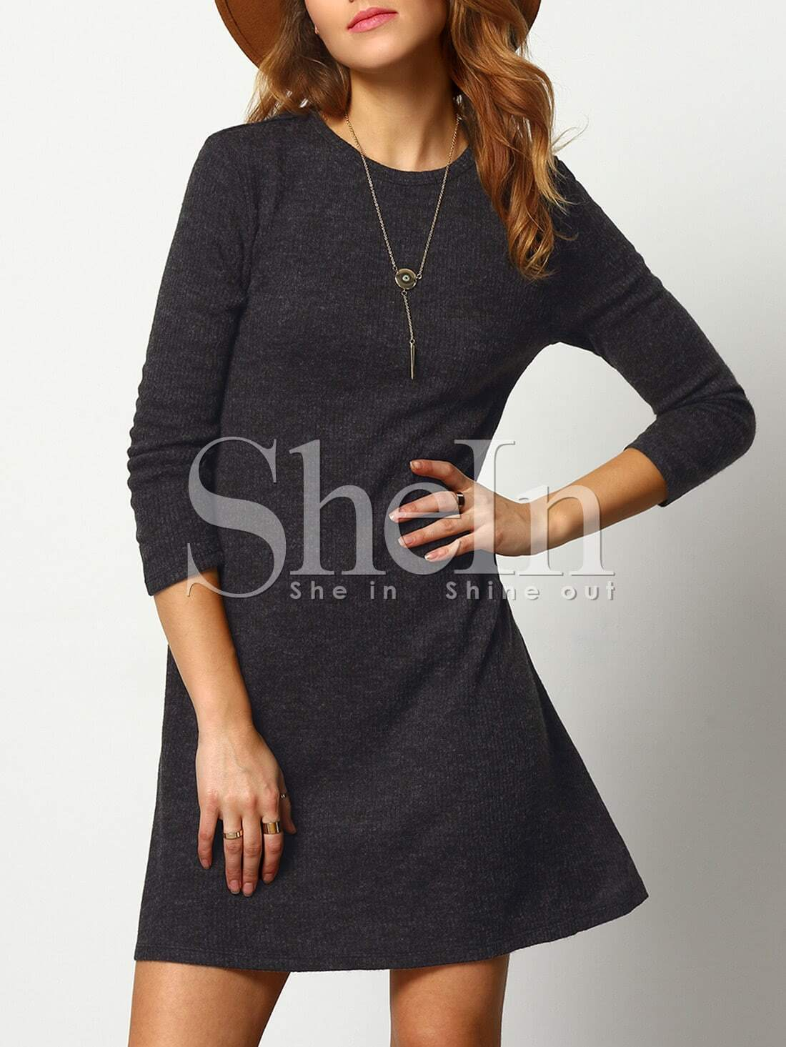 Crew Neck Casual Sweater Dress crew neck tribal fitted sweater dress