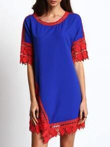 Blue Crew Neck Contrast Lace Hem Dress