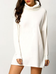 White High Neck Casual Dress