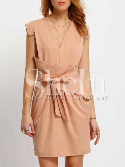 Apricot Dupioni V Neck Knotted Sleeveless Dress