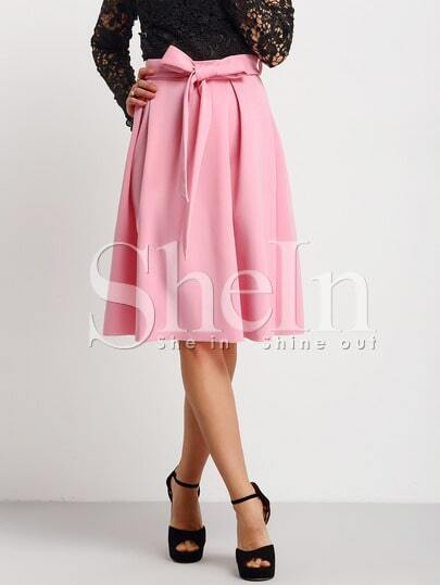 Pink Tie-waist Flare Midi Skirt
