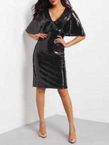 Black Deep V Neck Sequined Split Sheath Dress
