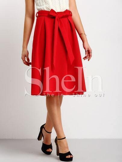 Red Tie-waist Flare Midi Skirt