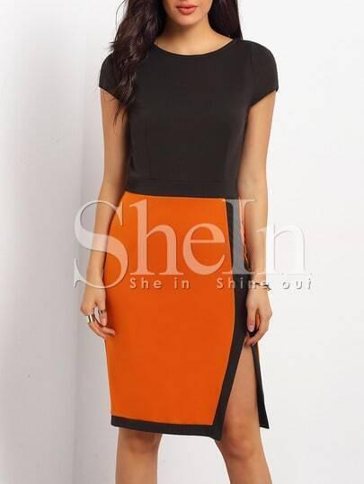 Black Brown Cap Sleeve Color Block Split Dress